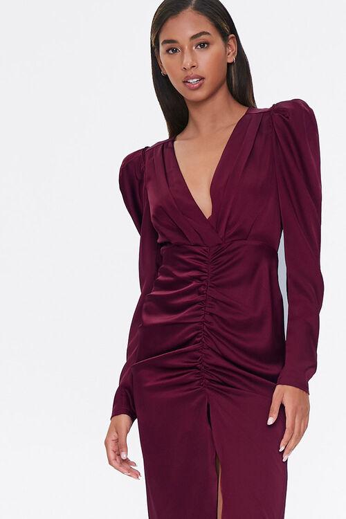 Ruched Puff-Sleeve Midi Dress, image 4