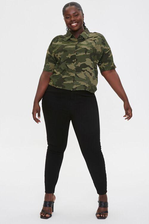 Plus Size Camo Print Shirt, image 4