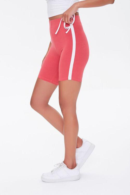 RUST/WHITE Side-Striped Biker Shorts, image 3