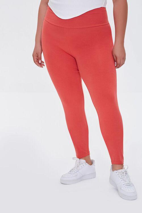 RED Plus Size Basic Organically Grown Cotton Leggings, image 2