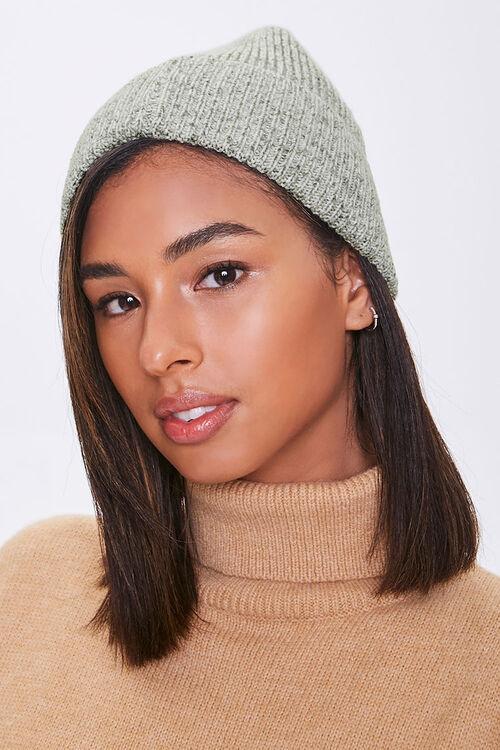 Heathered Ribbed Knit Beanie, image 1