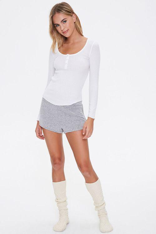 Ribbed Knit Henley Pajama Top, image 4