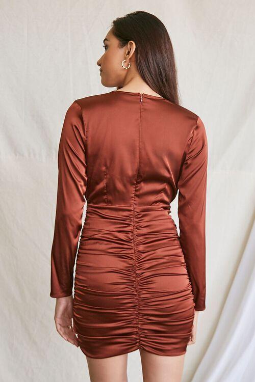 DARK BROWN Satin Ruched Mini Dress, image 3