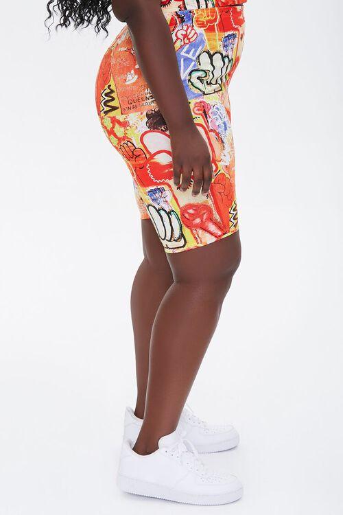 Plus Size Ashley Walker Art Print Biker Shorts, image 3