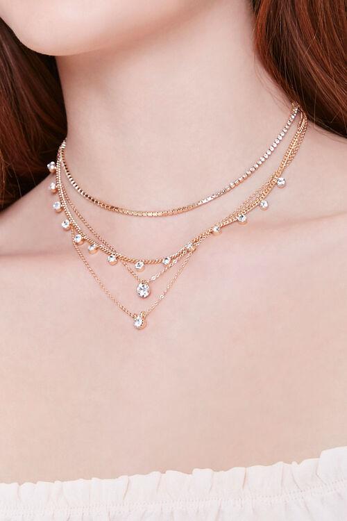 GOLD/CLEAR Rhinestone Pendant Layered Necklace, image 1