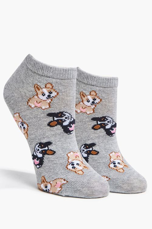 HEATHER GREY/MULTI Corgi Puppy Ankle Socks, image 1
