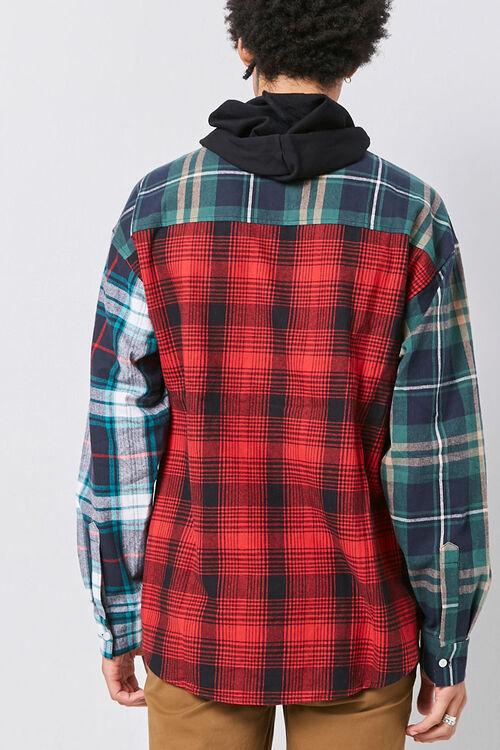 Plaid Patternblock Hooded Shirt, image 3