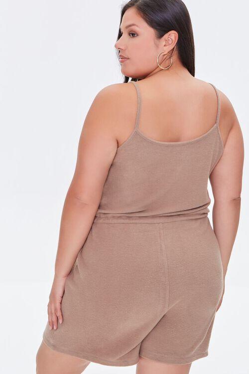 TAUPE Plus Size Cami Drawstring Romper, image 3
