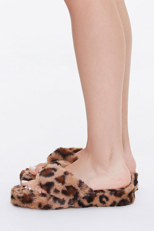 Plush Leopard Thong Slippers, image 2