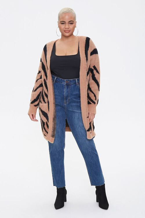 Plus Size Tiger Striped Cardigan Sweater, image 4