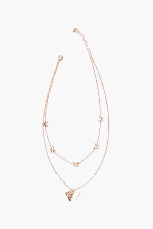 Layered Butterfly Pendant Choker Necklace, image 2