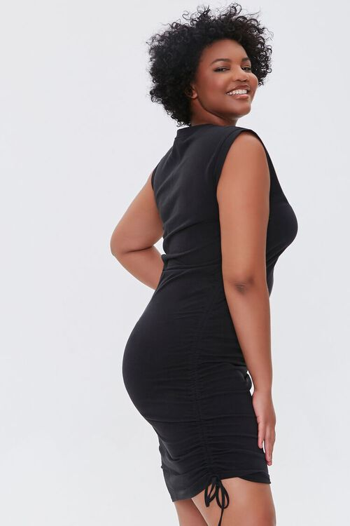 Plus Size Ruched Drawstring Mini Dress, image 2