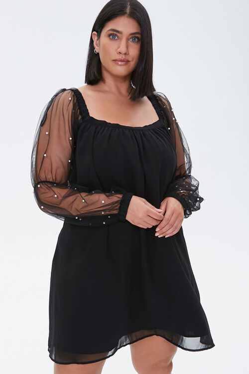 Plus Size Faux Pearl-Sleeve Mini Dress, image 1