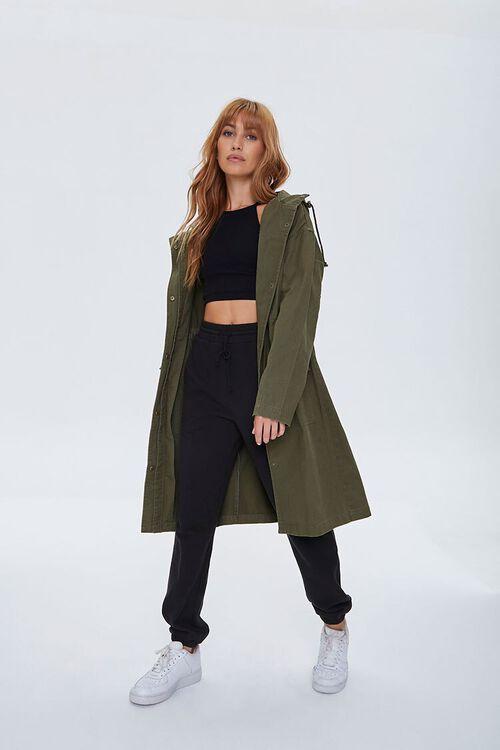 Drawstring Hooded Longline Jacket, image 1
