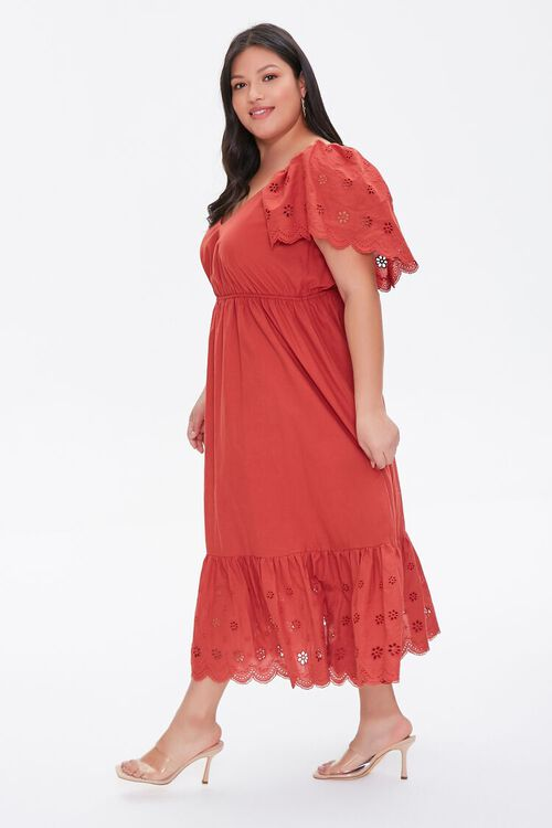 Plus Size Floral Eyelet Dress, image 3