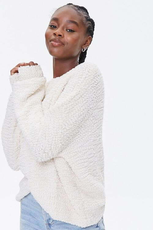 Popcorn Knit Drop-Sleeve Sweater, image 1