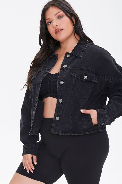 Plus Size Cropped Denim Jacket, image 1