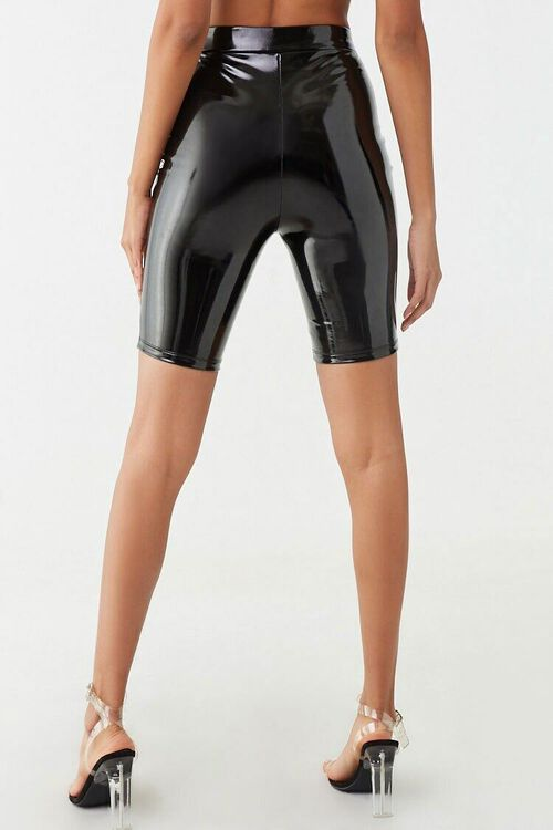 BLACK Faux Patent Leather Biker Shorts, image 4