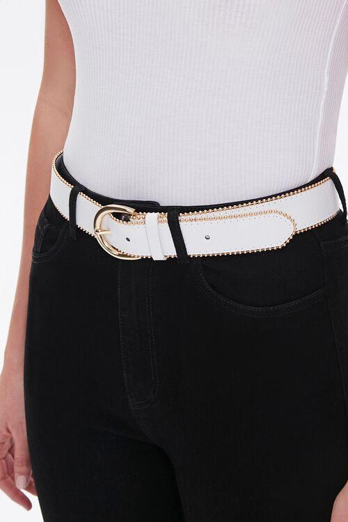 WHITE/GOLD Studded Hip Belt, image 1