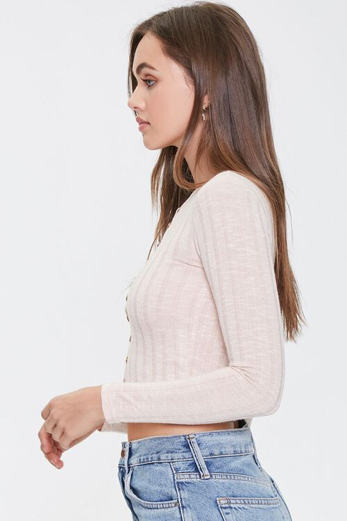 Marled Button-Front Crop Top, image 2