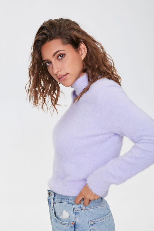 Fuzzy Knit Mock Neck Sweater, image 2