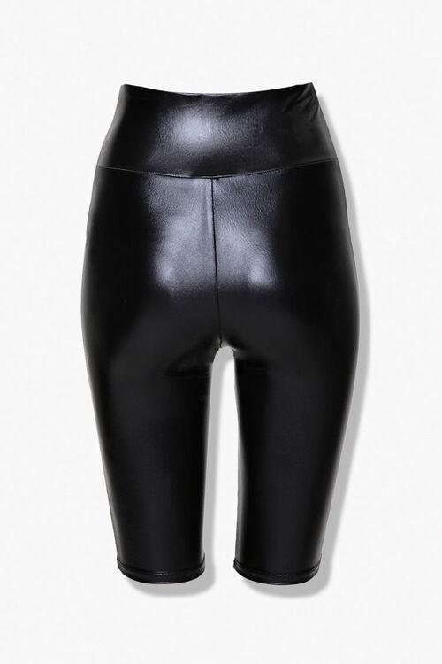 Active Faux Leather Biker Shorts, image 2