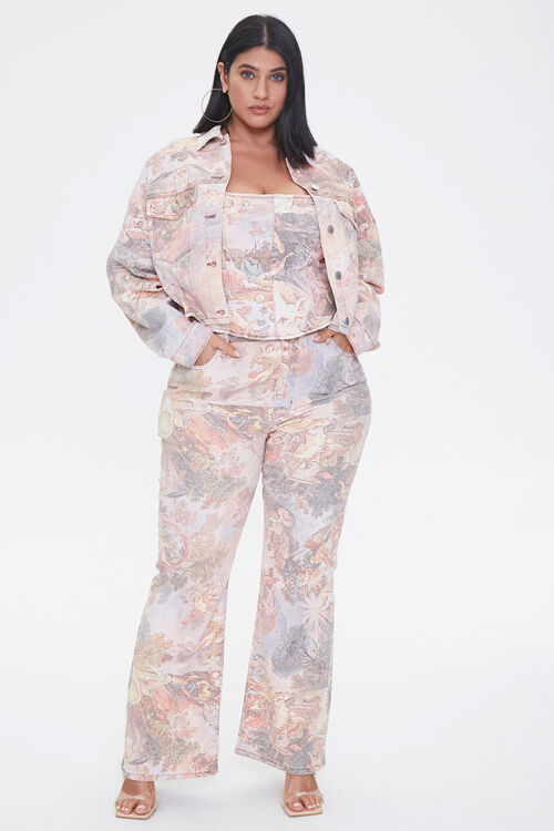 Plus Size Art Print Denim Jacket, image 4