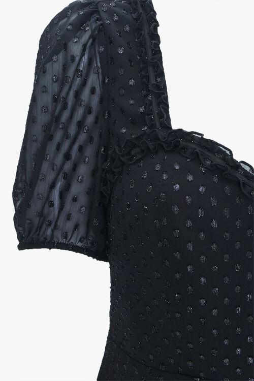 BLACK Plus Size Polka Dot Sweetheart Dress, image 3