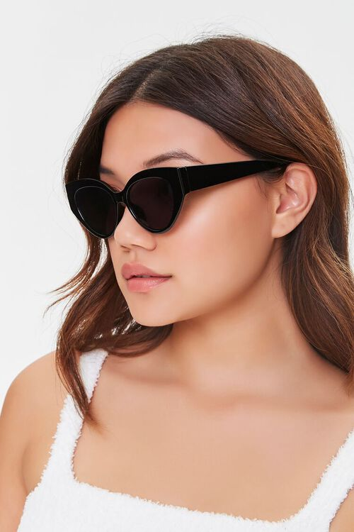 BLACK/BLACK Tinted Cat-Eye Sunglasses, image 2