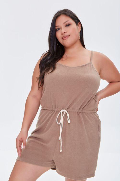 TAUPE Plus Size Cami Drawstring Romper, image 1