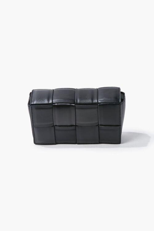 BLACK Faux Leather Crosshatch Crossbody Bag, image 1
