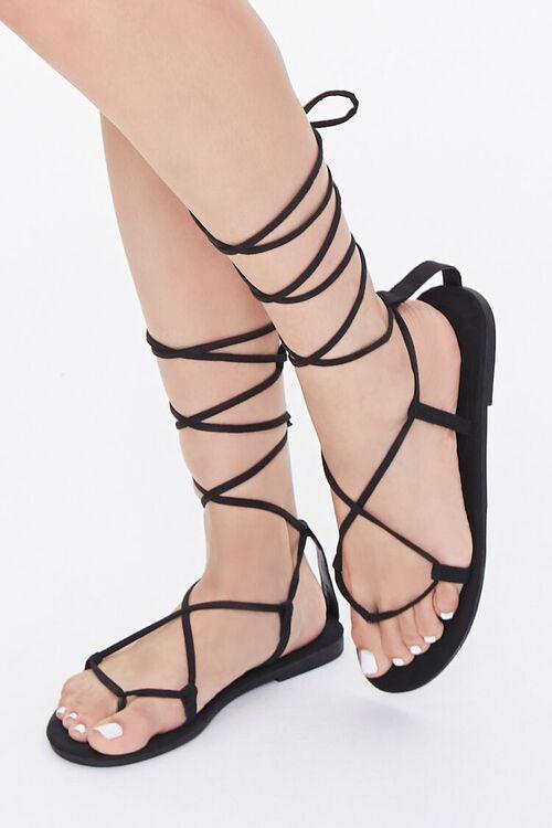 BLACK Thong-Toe Gladiator Sandals, image 1
