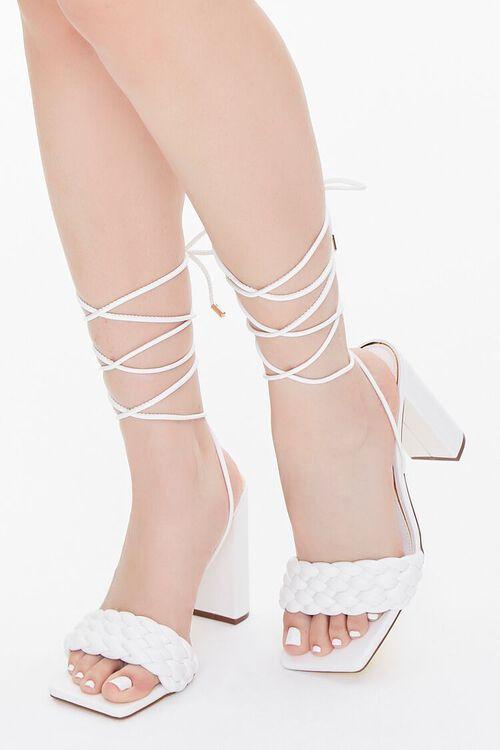 WHITE Braided Wraparound Block Heels, image 1