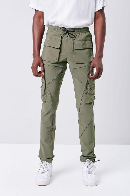Piped-Trim Drawstring Cargo Pants, image 2
