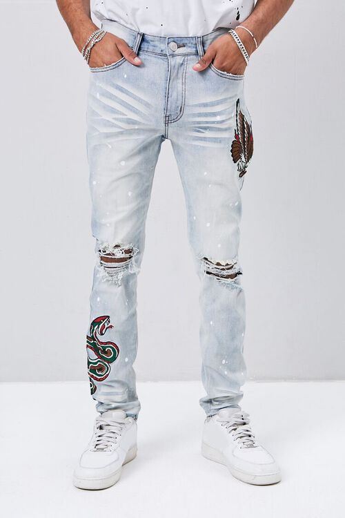 Embroidered Graphic Paint Splatter Jeans, image 2