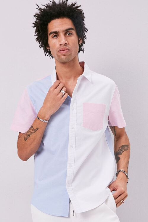 WHITE/BLUE Colorblock Fitted Pocket Shirt, image 1