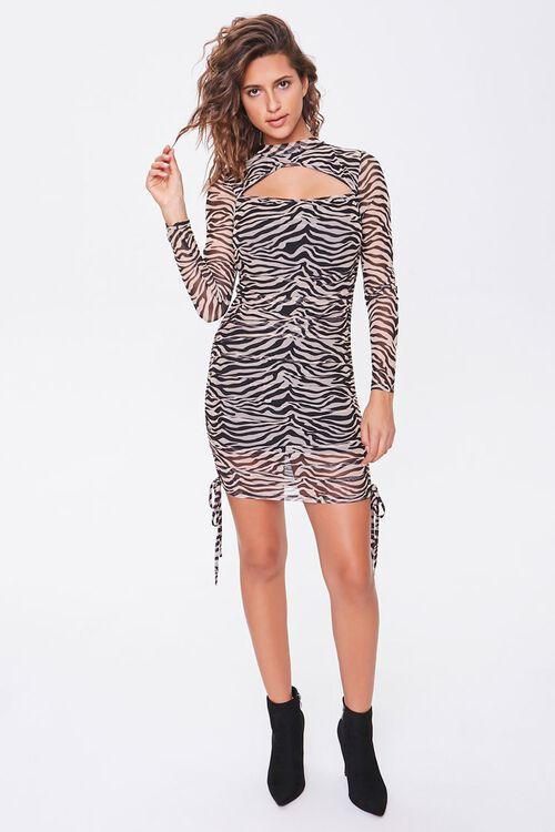 BLACK/TAUPE Tiger Print Cutout Dress, image 4