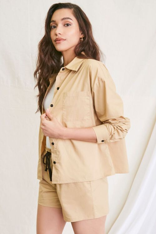 KHAKI Pocket Shirt & Drawstring Shorts Set, image 4