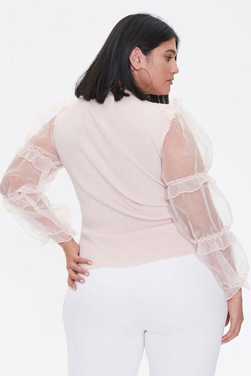 Plus Size Sheer-Sleeve Sweater, image 3