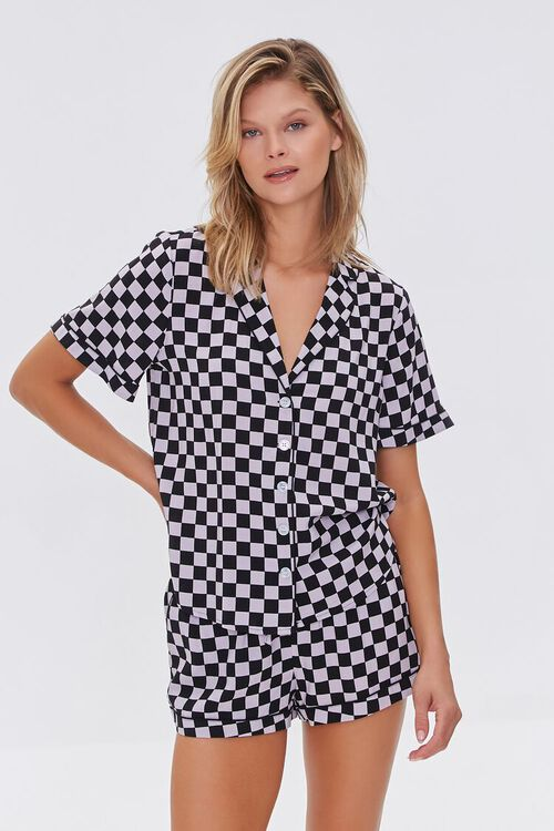 BLACK/VIOLET Checkered Print Pajama Set, image 2