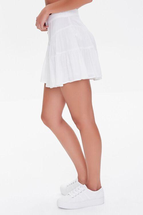 WHITE Button-Front Mini Skirt, image 3