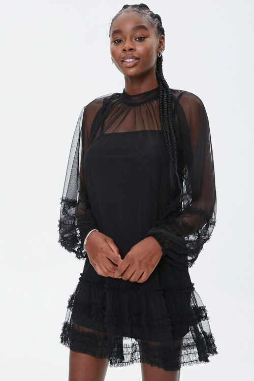 Mesh Ruffle-Trim Mini Dress, image 1