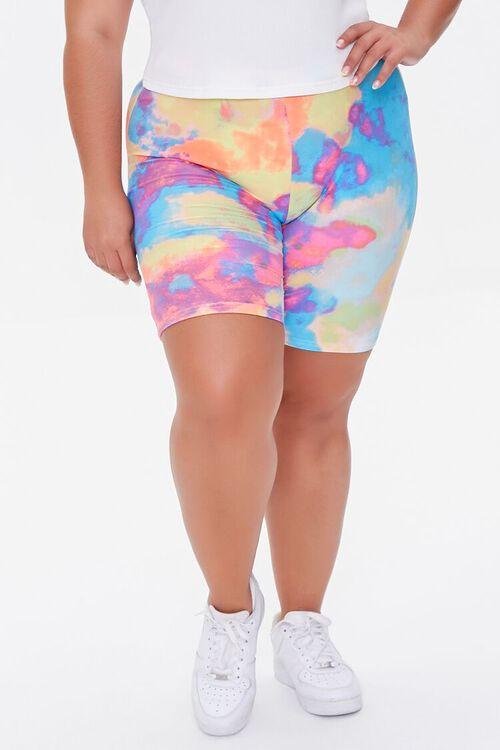 Plus Size Tie-Dye Biker Shorts, image 2