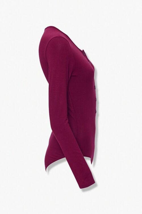 BURGUNDY Button-Front Bodysuit, image 2