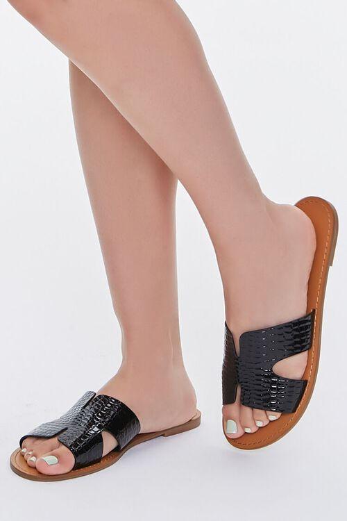 Faux Croc Leather Cutout Sandals, image 1