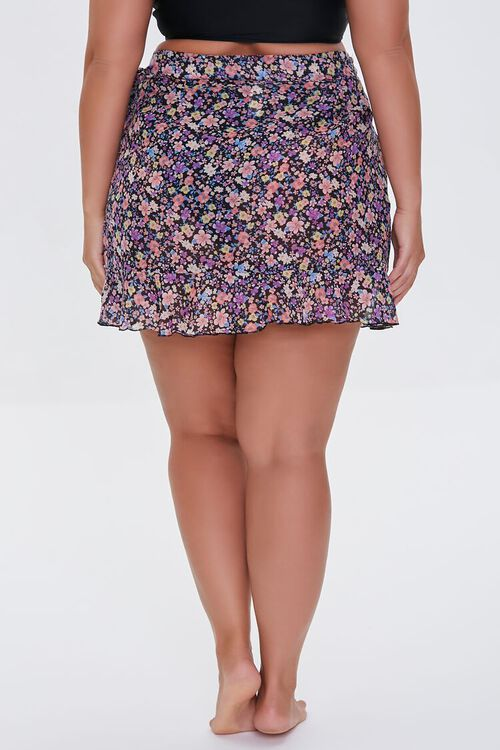 Plus Size Floral Swim Cover-Up Skirt, image 4