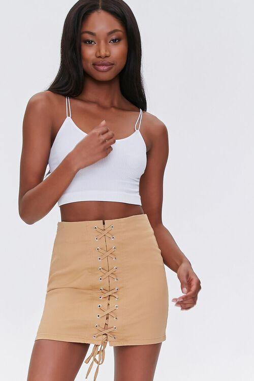 Lace-Up Mini Skirt, image 1