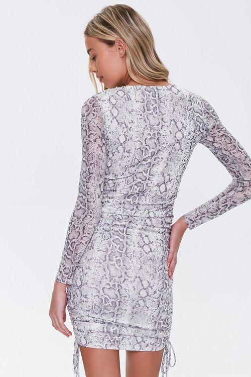 GREY/YELLOW Snake Print Bodycon Dress, image 3