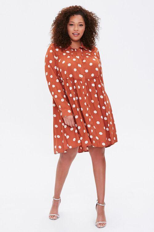 RUST/IVORY Plus Size Polka Dot Shirt Dress, image 4