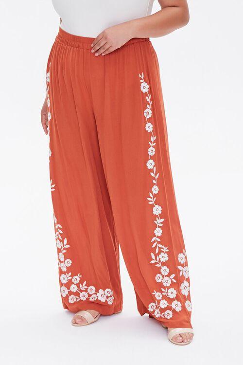 Plus Size Floral Wide-Leg Pants, image 2